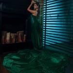 Зеленое платье ручной работы